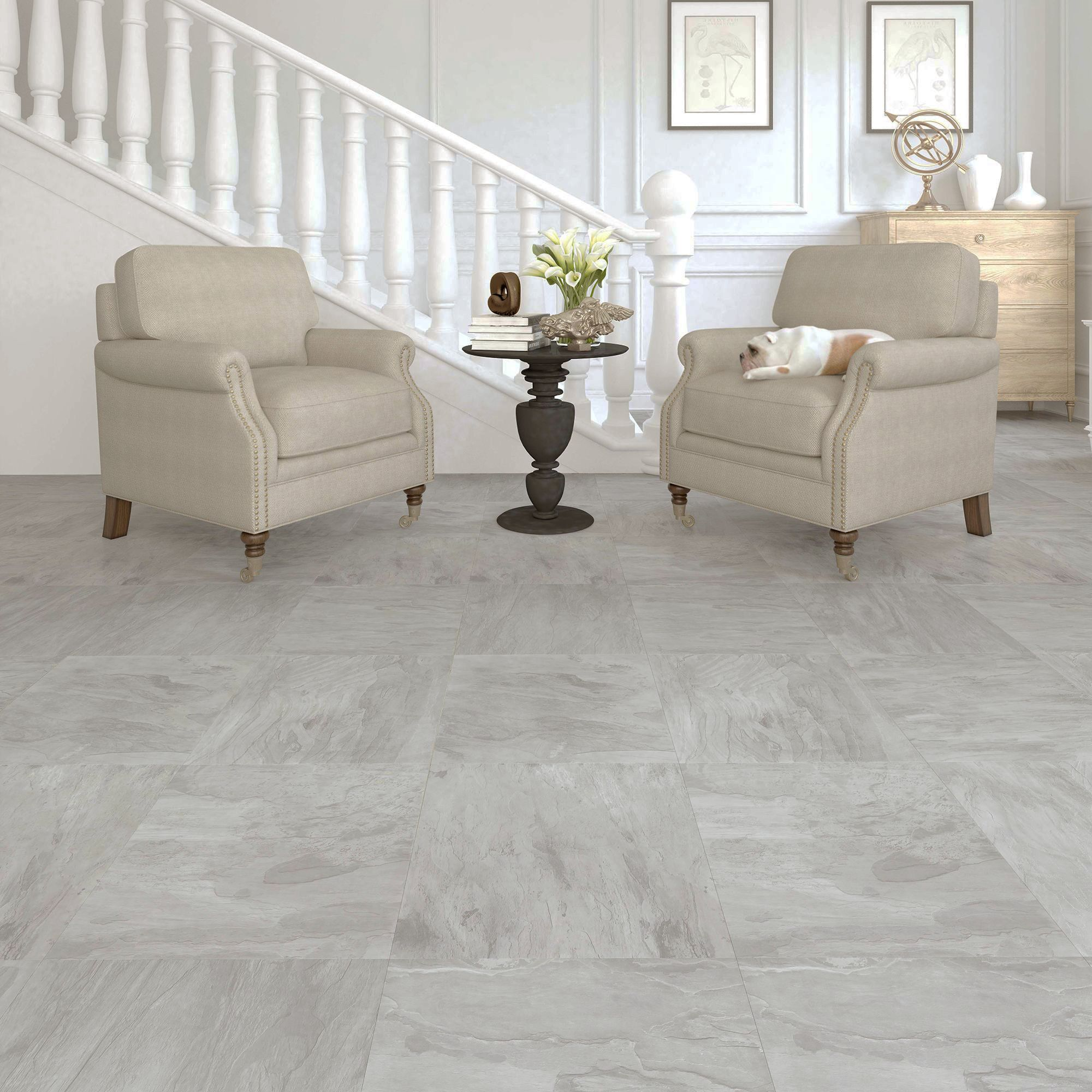 Leggiero Light grey Slate effect Laminate flooring 1.86 m² Pack ...