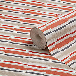 Colours Red Retro Stripe Wallpaper