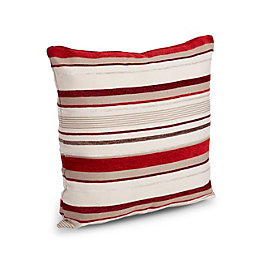 Sedum Stripe Red, beige & black Cushion