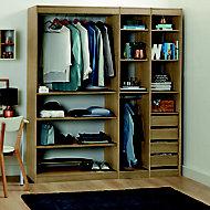 Form Perkin Oak effect Bedroom storage unit kit (H)2008mm (W)1800mm
