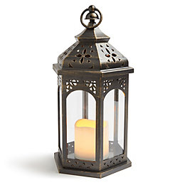 Blooma Matt Black Battery Powered External Moroccan Lantern
