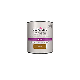 Colours Indoor Walnut Satin Wood varnish 0.25L