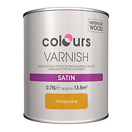 Colours Indoor Antique pine Satin Wood varnish 0.75L