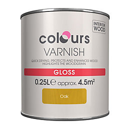 Colours Indoor Oak Gloss Wood varnish 0.25L