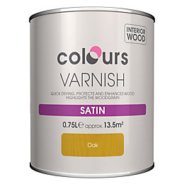 Colours Indoor Oak Satin Wood varnish 0.75L