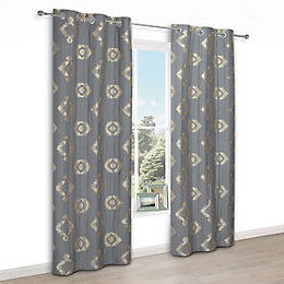 Chassidy Grey Geometric Eyelet Lined Curtains (W)117 cm