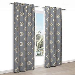 Chassidy Grey Geometric Eyelet Lined Curtains (W)228 cm