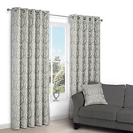 Nordic Cream Leaf Eyelet Lined Curtains (W)117 cm