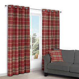 Lamego Red Check Eyelet Lined Curtains (W)167 cm
