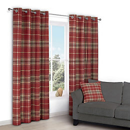 Lamego Red Check Eyelet Lined Curtains (W)228 cm