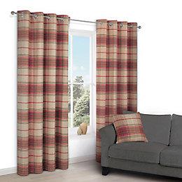 Lamego Orange Check Eyelet Lined Curtains (W)167 cm