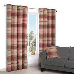 Lamego Orange Check Eyelet Lined Curtains (W)167 cm