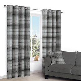 Lamego Grey Check Eyelet Lined Curtains (W)117 cm