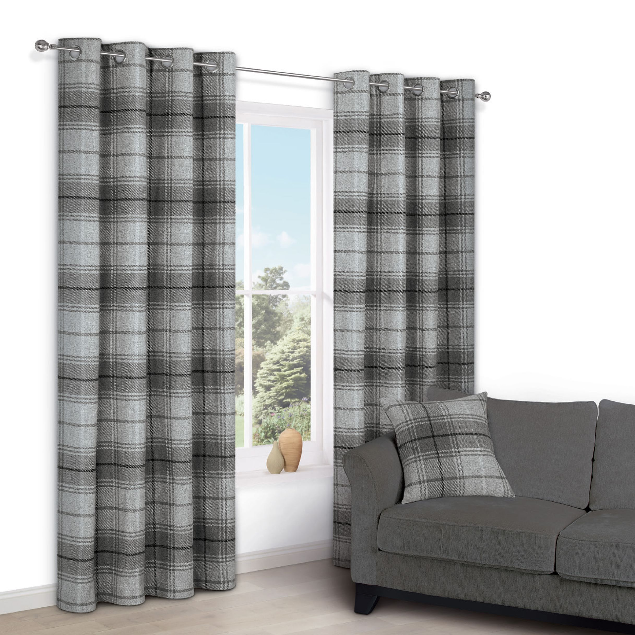 Lamego Grey Check Eyelet Lined Curtains W 167 Cm L 228