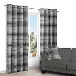 Lamego Grey Check Eyelet Lined Curtains (W)228 cm