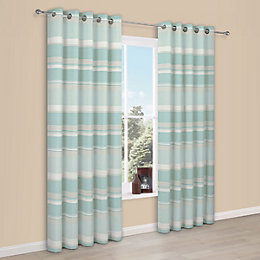 Cheyla Duck egg Stripe Eyelet Lined Curtains (W)228