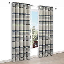 Cheyla Grey Stripe Eyelet Lined Curtains (W)117 cm