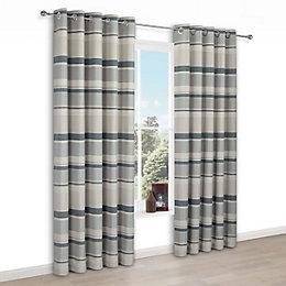 Cheyla Grey Stripe Eyelet Lined Curtains (W)117 cm