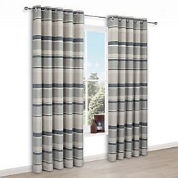 Cheyla Grey Stripe Eyelet Lined Curtains (W)228 cm
