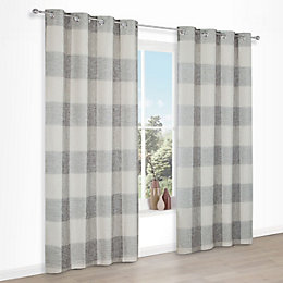 Auteur Beige Check Eyelet Lined Curtains (W)117 cm