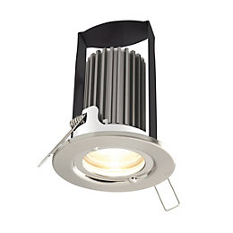 Diall Brushed nickel effect LED Fixed Downlight 5.2