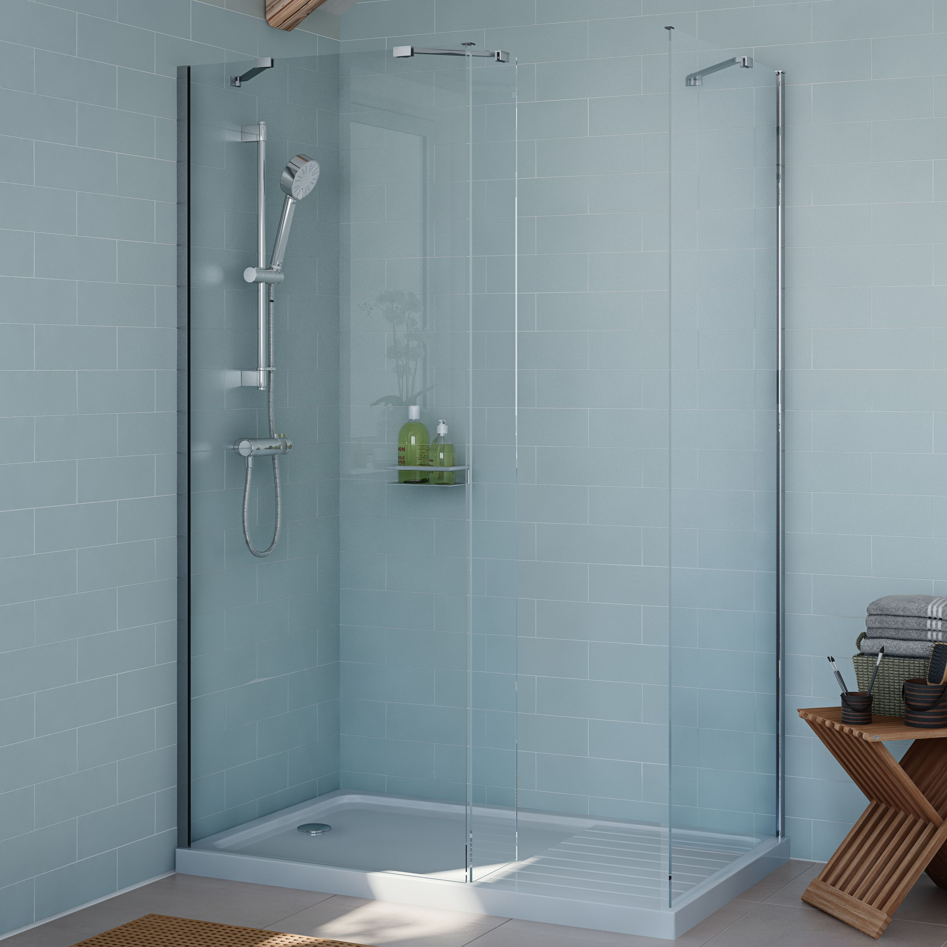 Cooke & Lewis Exuberance Rectangular Shower enclosure, tray & waste ...