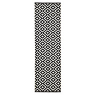 Colours Harrieta Black & white Geometric Runner (L)2m (W)0.6 m