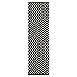 Colours Harrieta Black & white Geometric Runner (L)2m