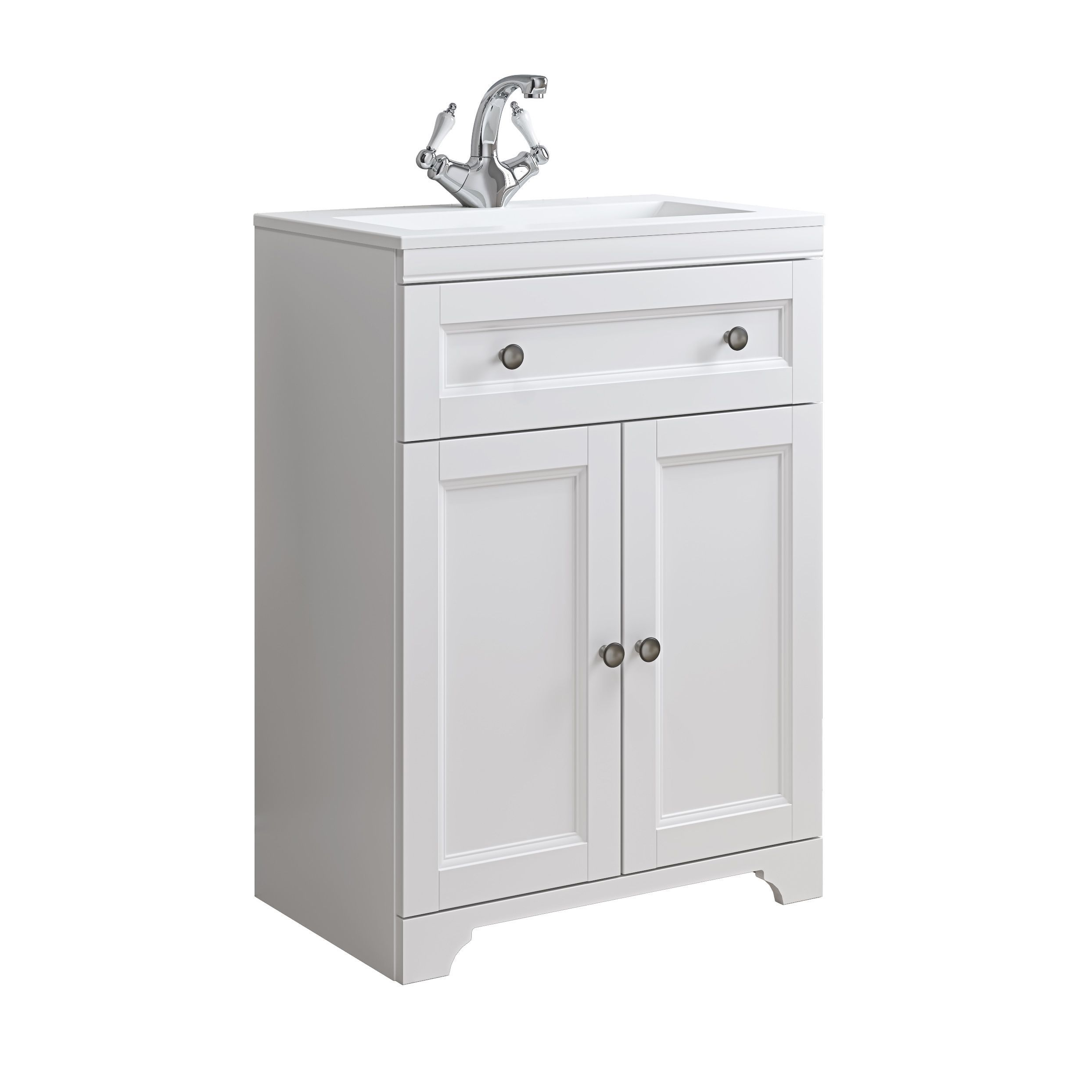 cooke lewis chadleigh matt white vanity unit basin set departments diy at b q. Black Bedroom Furniture Sets. Home Design Ideas