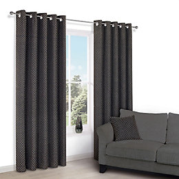 Camasha Black Honeycomb Woven Eyelet Lined Curtains (W)167