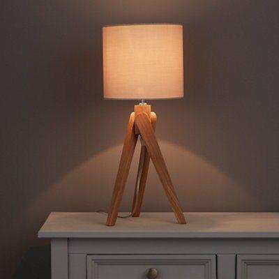 Mika Tripod Oak Effect Table Lamp