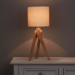 Mika Tripod Oak Effect Table Lamp