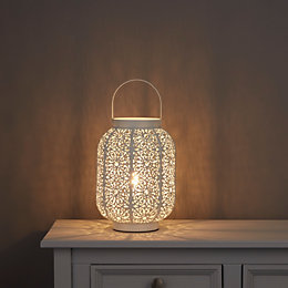 Cayne Moroccan Lantern White Table Lamp