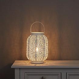 Cayne Moroccan Lantern White Table Lamp