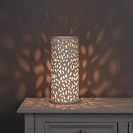 Cyro Cutout Leaf Cream Ceramic Table Lamp
