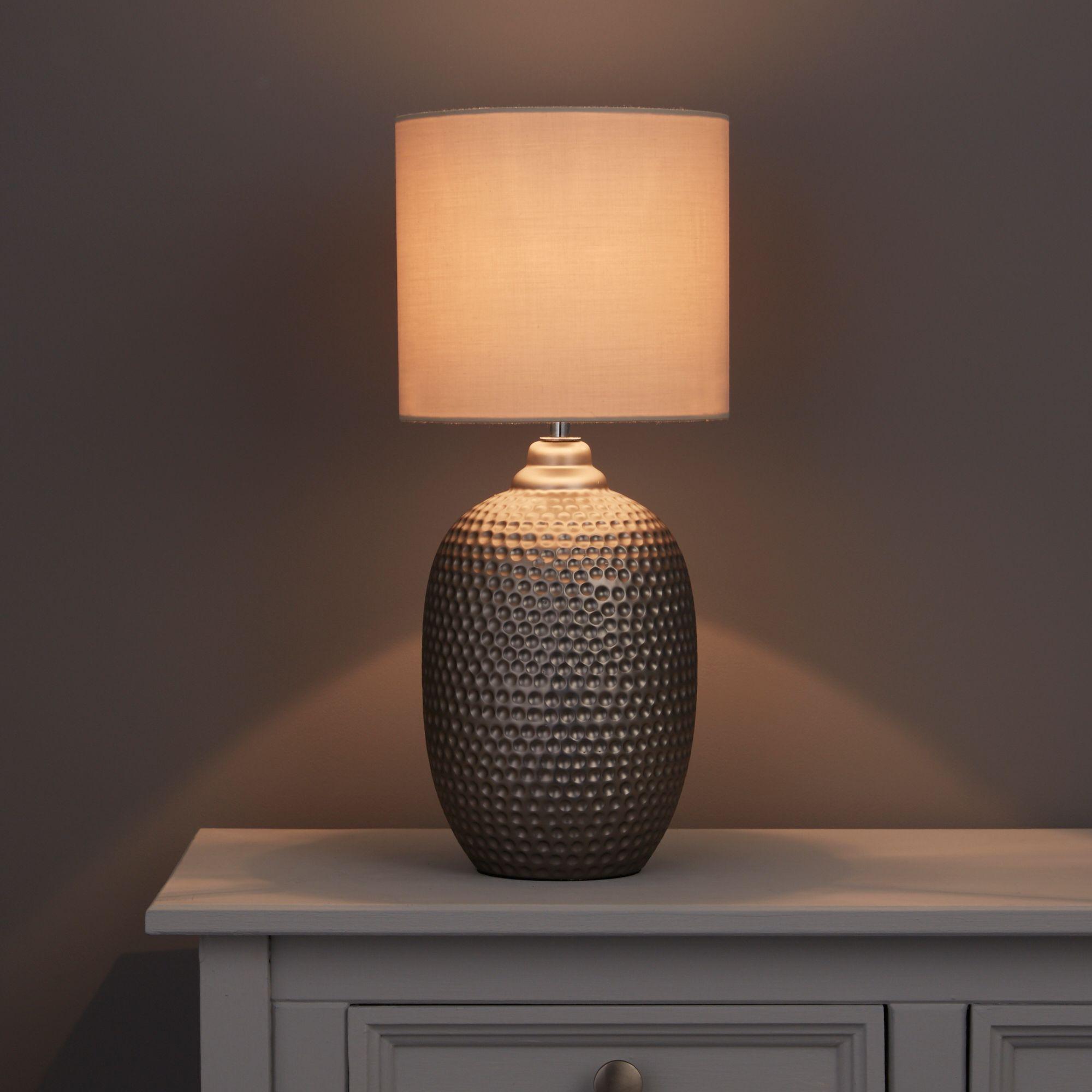 Sandford Dented Silver Table Lamp Departments Diy At B Amp Q