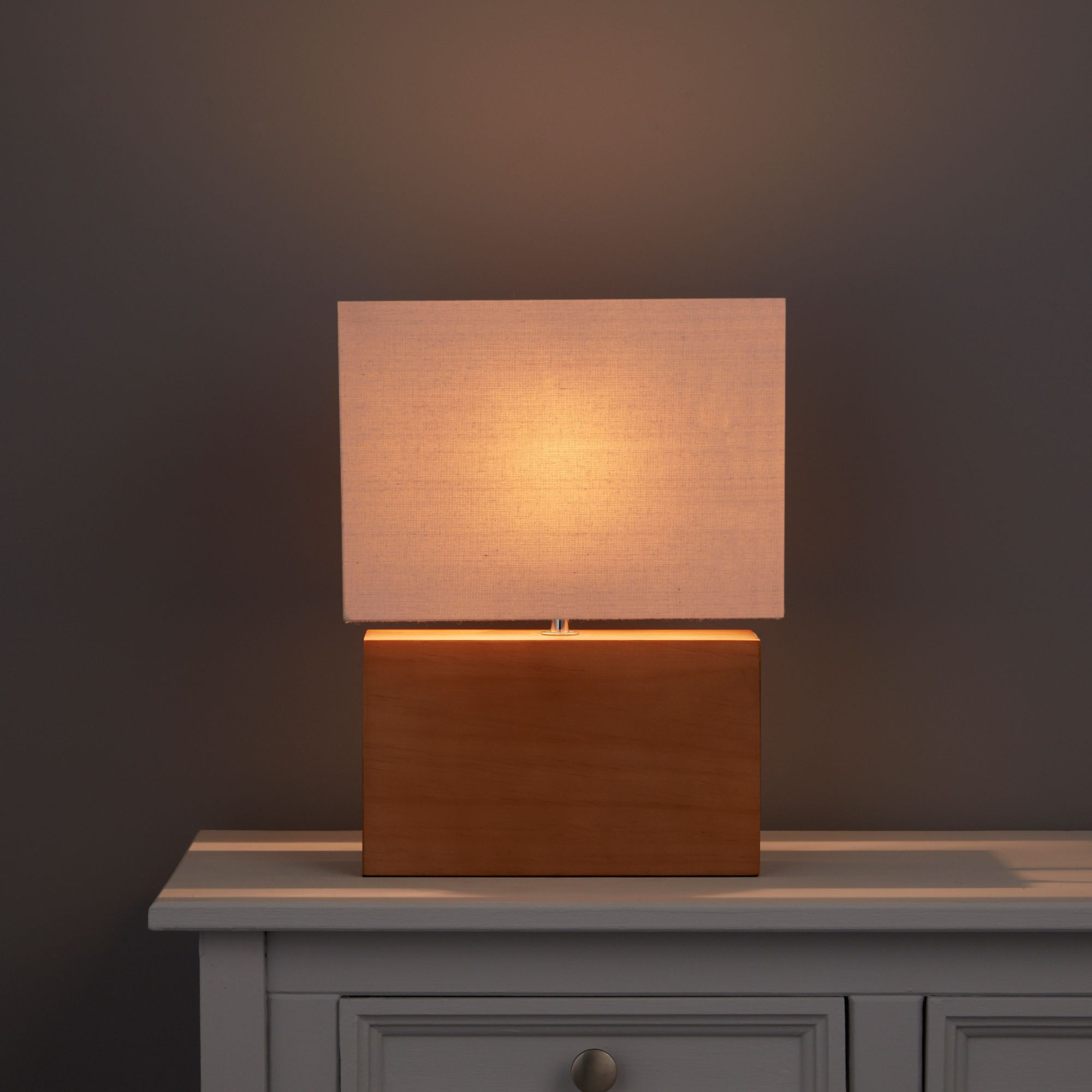 Hector Rectangle Brown Oak effect Table lamp