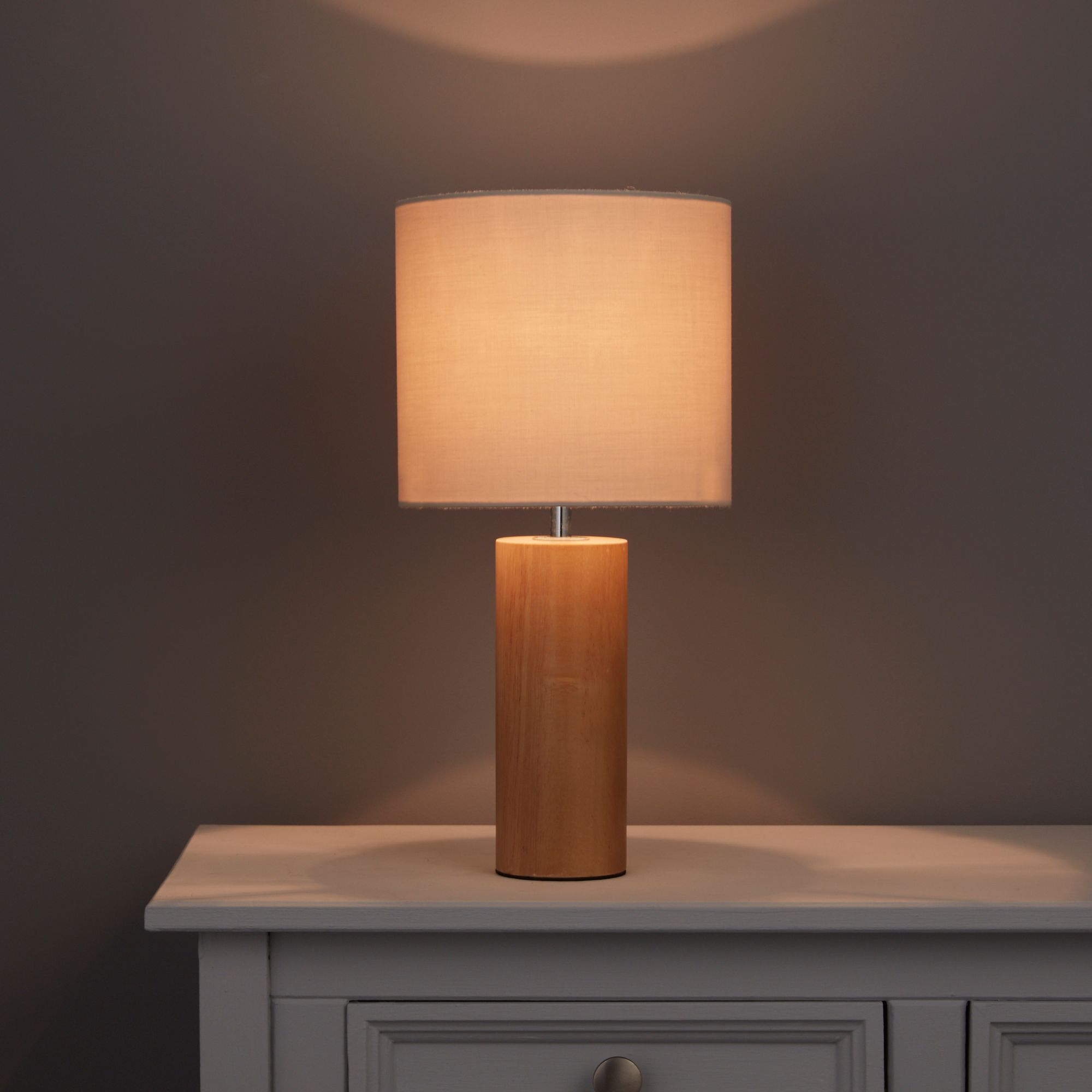 Ezra Cylinder Natural Oak effect Table lamp