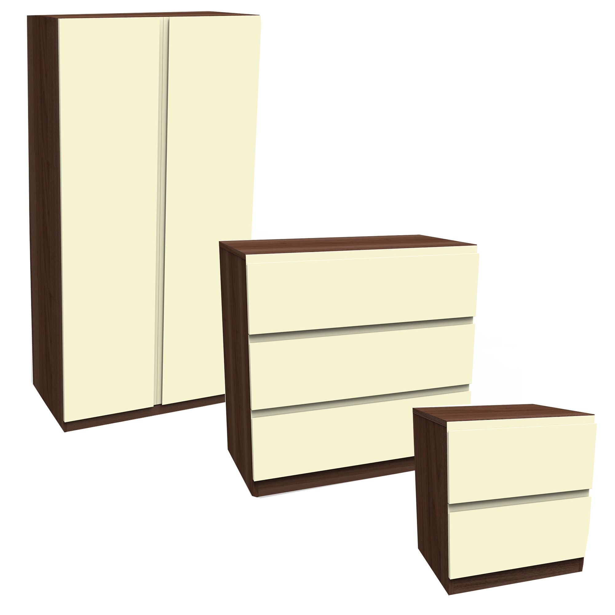 darwin gloss cream walnut effect 3 piece bedroom furniture set departments diy at b q. Black Bedroom Furniture Sets. Home Design Ideas
