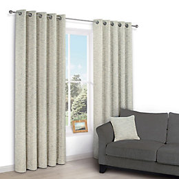 Christa Limestone Plain Chenille Eyelet Lined Curtains (W)167