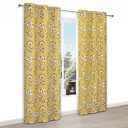 Carabelle Yellow Floral Print Eyelet Lined Curtains (W)167