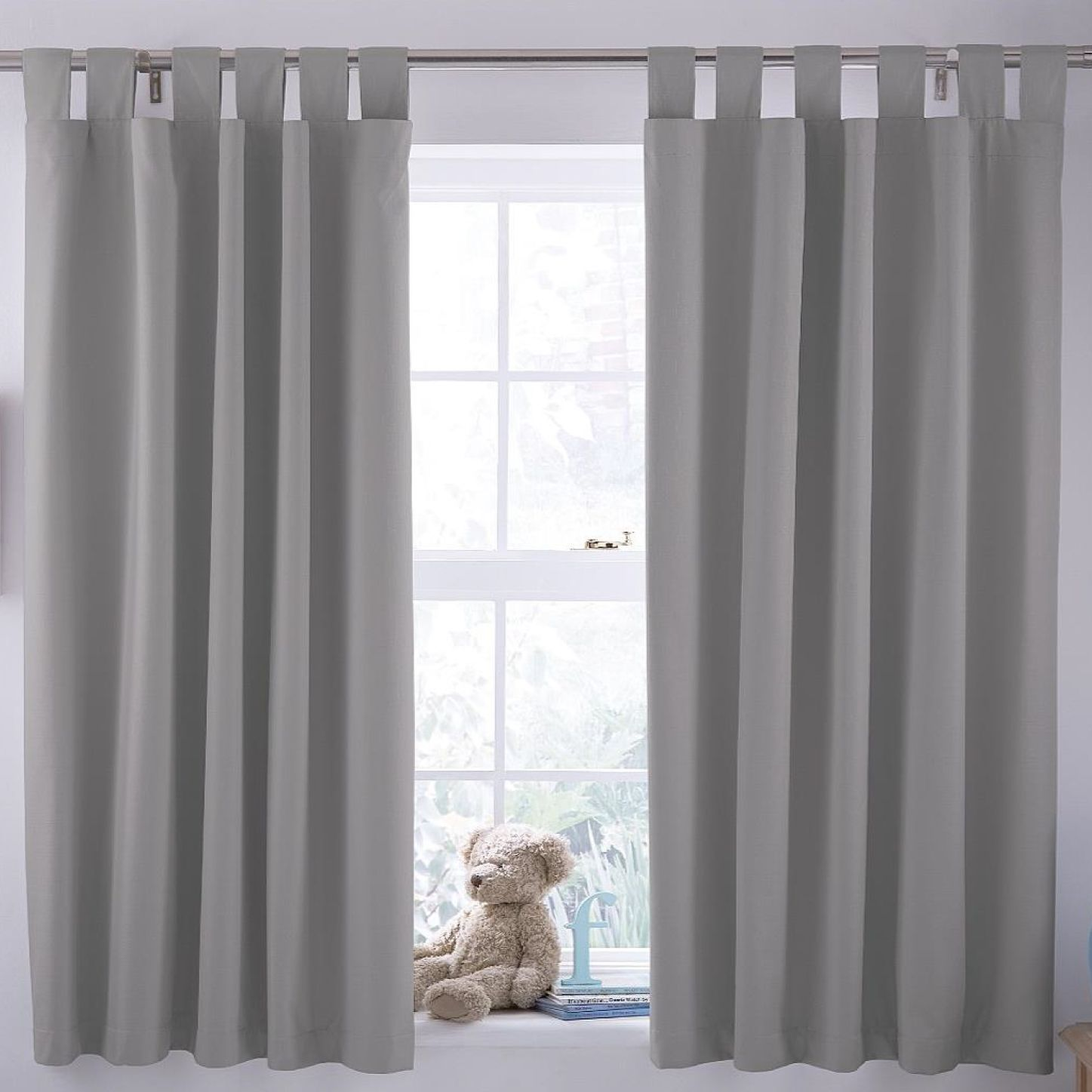 Ardella Grey Plain Blackout Coating Tab Top Curtains W