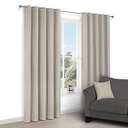 Chaylea Green Stripe Eyelet Lined Curtains (W)228 cm