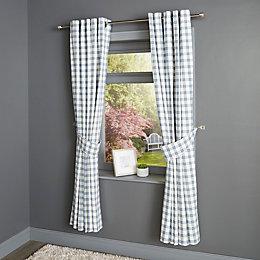 Chenoa Blue & White Check Eyelet Lined Curtains