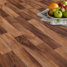 Arezzo Walnut Effect Matt Vinyl Flooring 6 m²