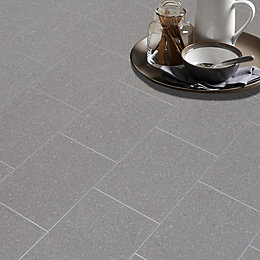 Monzen Grey Tile Effect Matt Vinyl Flooring 4