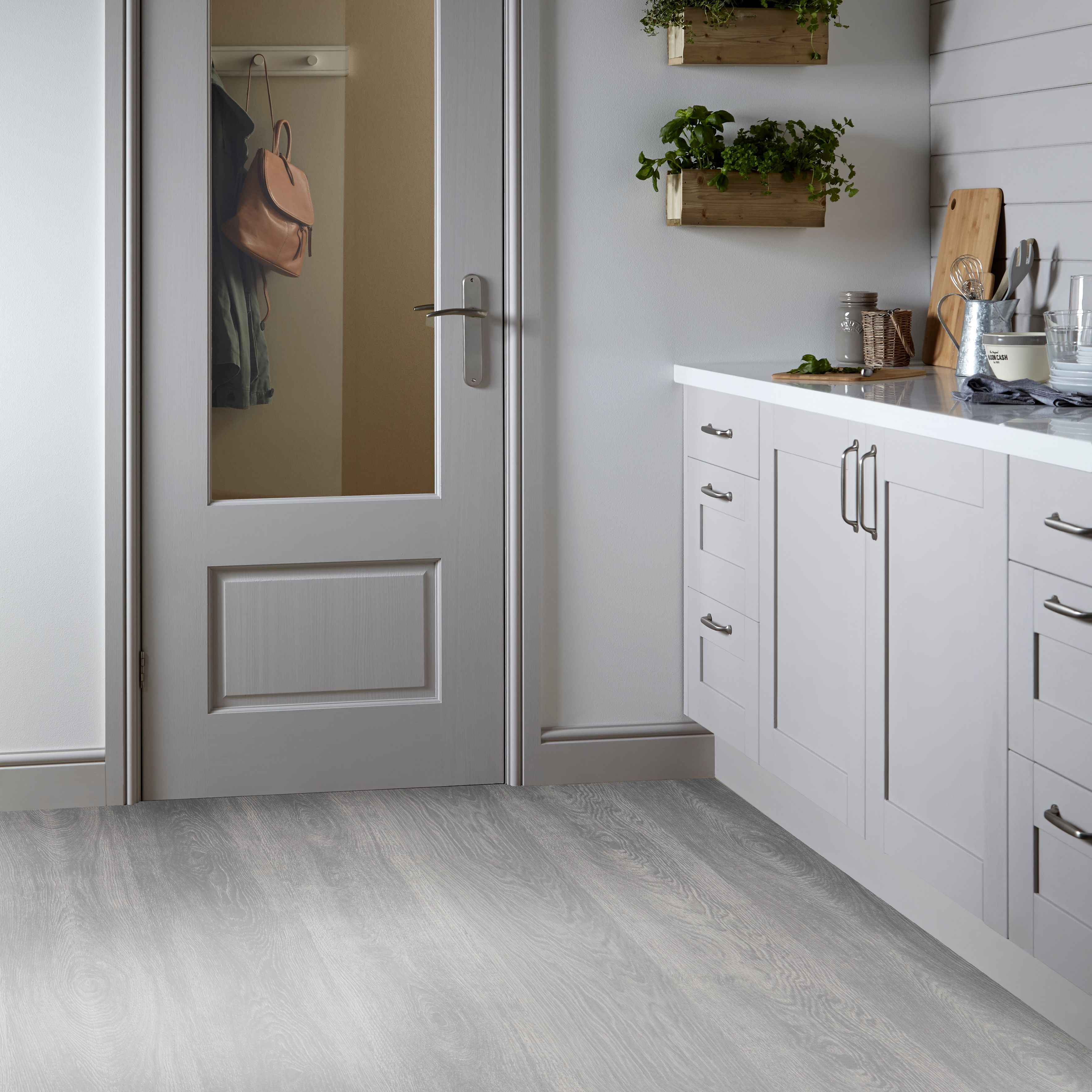 Inia Whitewood Effect Matt Vinyl Flooring 4 M² Departments Diy At B Q