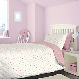 Polka Dot Pink Single Bed Set