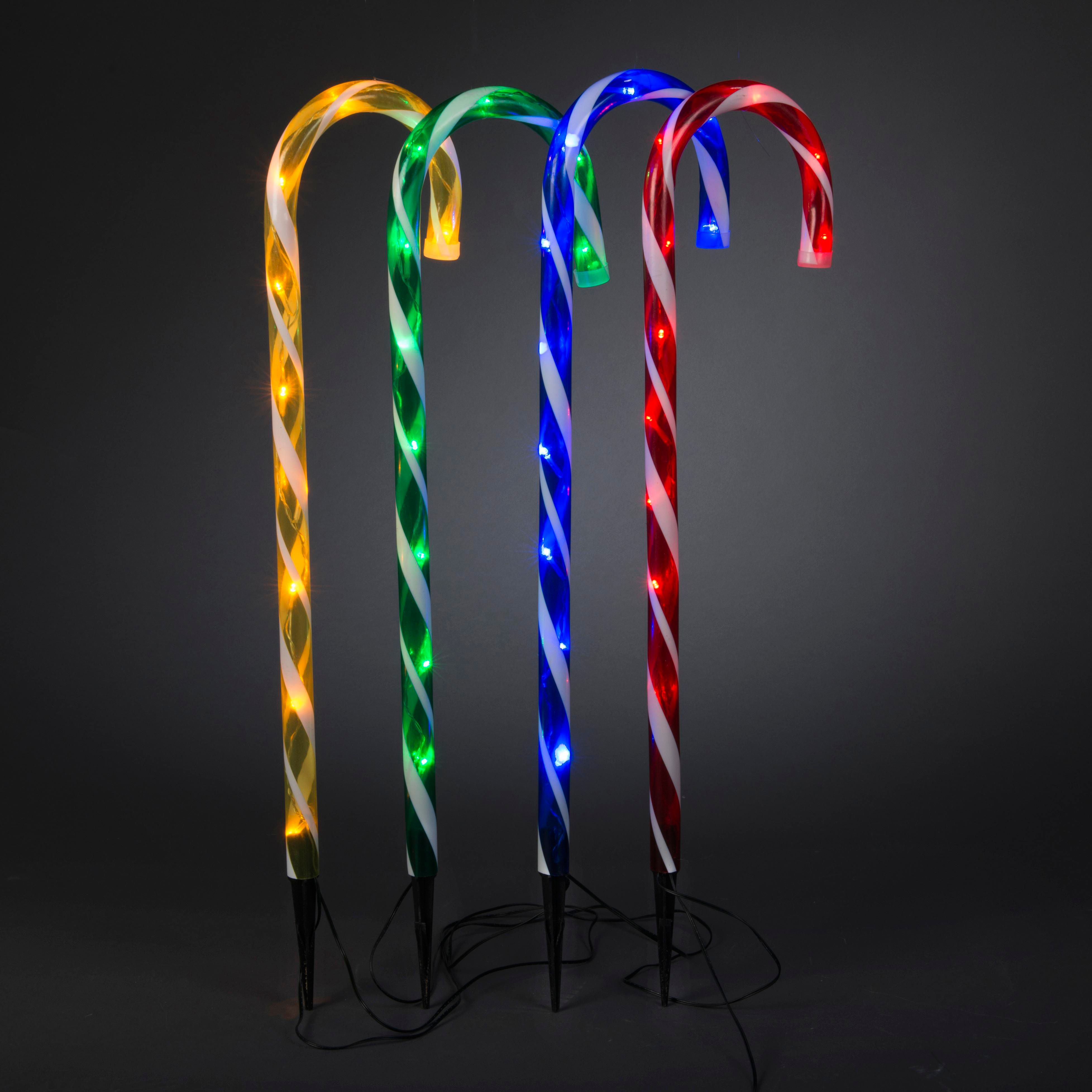 B&q Outdoor Xmas Lights Led candy cane stake lights pack of 4 departments diy at bq workwithnaturefo