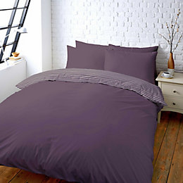Colours Zen Plain & Striped Blueberry Double Bed